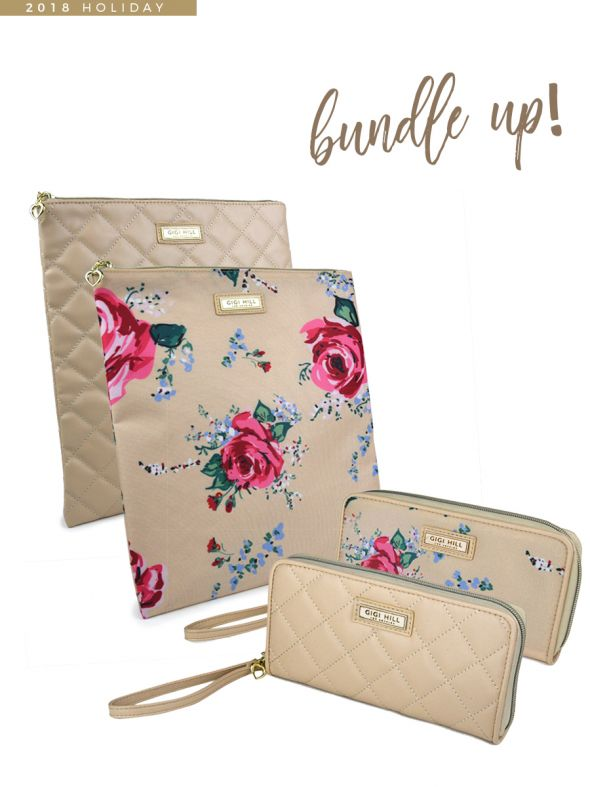 USYG0222 – Gigi Hill Bundle 2 - 2 Rita and 2 Large Scarlett - (1) Antique Floral (1) Quilted Tan